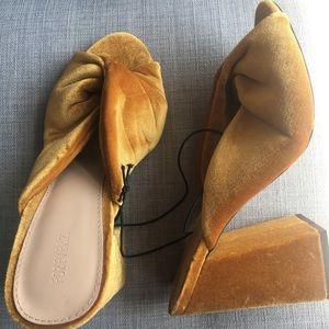 Forever 21 gold velvet heels